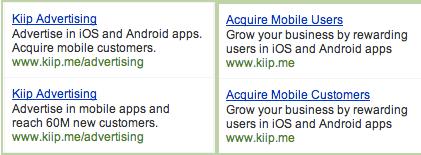 Kiip AdWords Ads